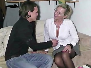 German Milf Made Fuck 18yr Old Guy And Let Him Cum Twice